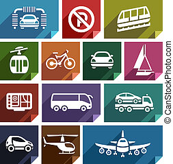 Transport flat icon-04 - Transport flat icons with shadow,...