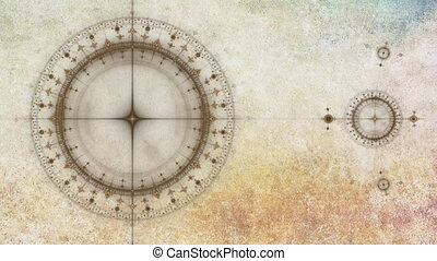 Grunge ancient nautical instrument - old clock or ancient...