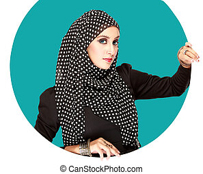 young beautiful muslim woman with black scarf