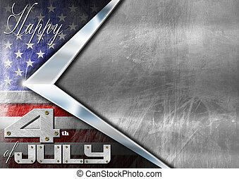 Happy 4th of July Independence Day - Grunge metallic...