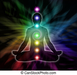 Chakra Meditation - Silhouette of a man in lotus meditation...