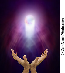 Spiritual Healing Orb - Hands outstretched and open with...
