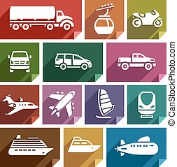Transport flat icon-07 - Transport flat icons with shadow,...