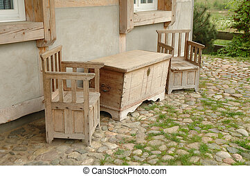 Wooden chairs and hutch - Old wooden chairs and hutch...