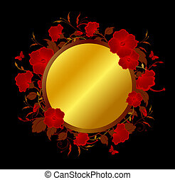 Background with red tropical flowers