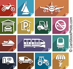 Transport flat icon-08 - Transport flat icons with shadow,...