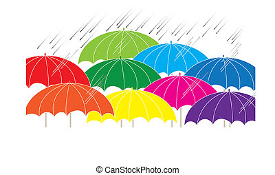 Rainbow - Umbrellas of various colors are featured in an...