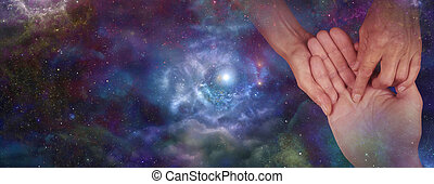 Palmistry website header on night - Palmist holding man's...