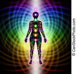 Energy Field and New Chakras - silhouette of female figure...