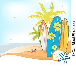 summer background with surboard on background