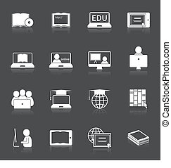 Online Education Icon - Online education home studying...