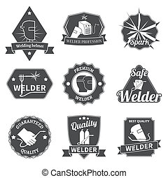 Welder labels set - Welder industry construction work repair...