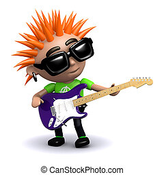 3d Punk guitarist - 3d render of a punk playing electric...