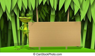 frog with wooden background - animation curious frog on stem...