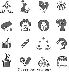 Circus Icons Set - Circus graphic pictograms of juggling...