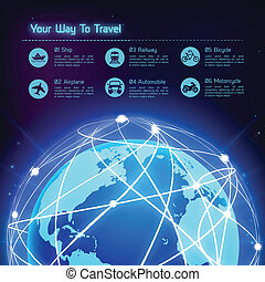 Network travel background - Network globe blue sphere earth...