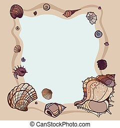 Summer Frame of seashells - Frame of seashells Summer...