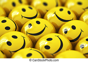 Happy yellow smileys - Macro view of happy yellow smiley...
