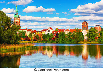 Stralsund, Germany - Scenic summer panorama of the Old Town...