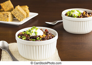 Veggie Chili - Vegetarian chili made with onions, tomatoes,...