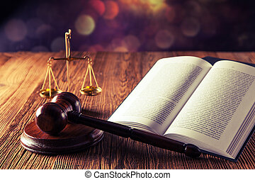 Law code and gavel - Law code, gavel and books