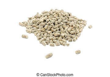 Pelleted Compound Feed for Cattle Isolated on White...