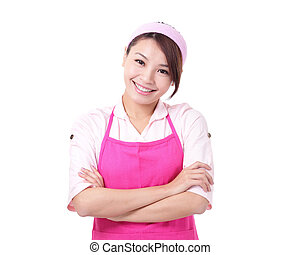 Happy young woman housewife Wearing Kitchen Apron Over White...