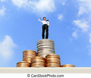 I want be rich - Successful business man standing on growth...
