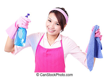 woman mother cleaning - young housewife woman mother...