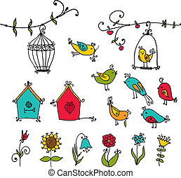 birds, tree and nesting boxes - set of cute birds, tree and...