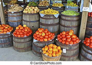 Produce Outside Country Store - Colorful display of produce...