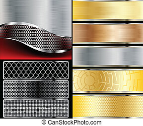 metallic backgrounds - Illustration metallic backgrounds Set...