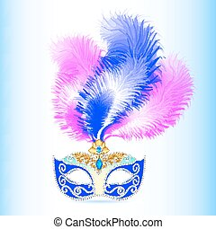 carnival mask with feather and jewels - illustration...