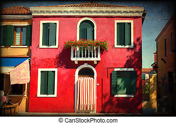 Burano, Venice - Colorful houses taken on Burano island ,...