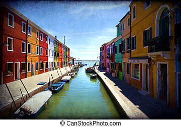 Burano, Venice island, colorful town in Italy