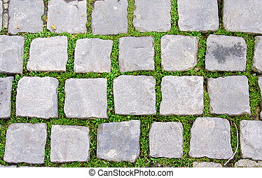 stone floor with grass around the French.