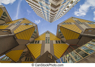 Yellow cubic houses in Rotterdam - Innovative yellow cubic...