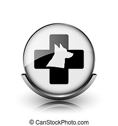 Veterinary icon. Shiny glossy internet button on white...