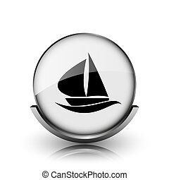 Sailboat icon Shiny glossy internet button on white...