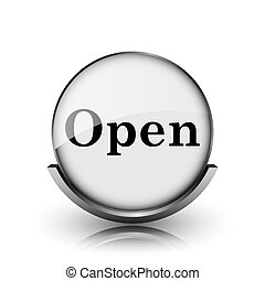 Open icon Shiny glossy internet button on white background...