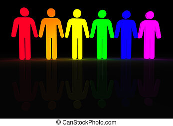 gay men glow - rainbow colored 3d glowing men symbols