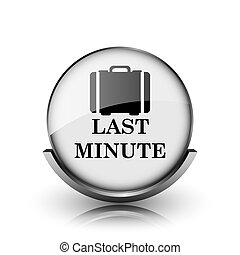 Last minute icon Shiny glossy internet button on white...