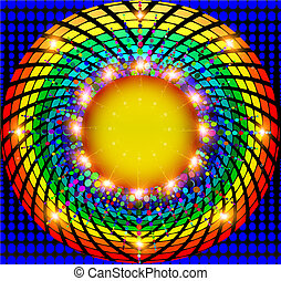 abstract background with frame round rays spectrum