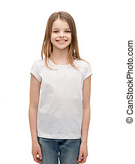 smiling little girl in white blank t-shirt - advertising and...
