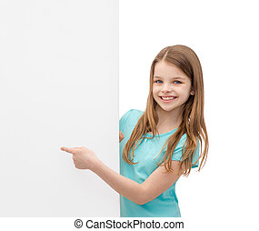 happy little girl with blank white board - people,...