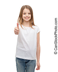 little girl in blank white tshirt showing thumbsup - t-shirt...