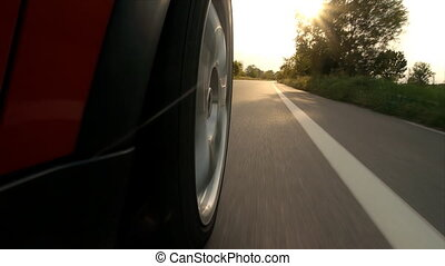 car driving wheel pov close up - driving wheel point of view...