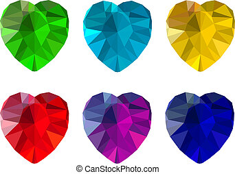 Set of heart-shaped gemstones, six colorful jewels