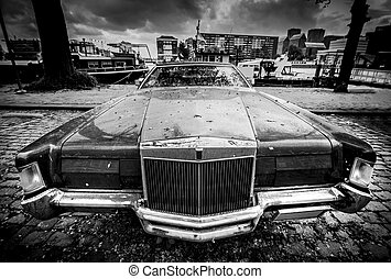 Old American car in black and white - wide angle