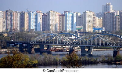 kyiv train bridge - railway bridge across the Dnipro River...